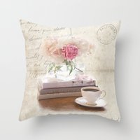 shabby chic Throw Pillows featuring Shabby by Lisa Smith
