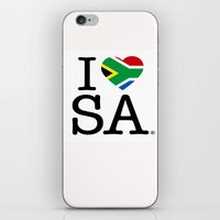 south africa iPhone & iPod Skins featuring I LOVE SOUTH AFRICA by ROGUE AFRICA