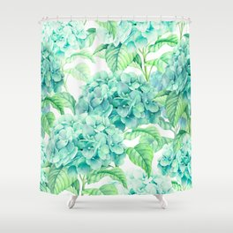 Hand painted green watercolor hydrangea floral pattern Shower Curtain