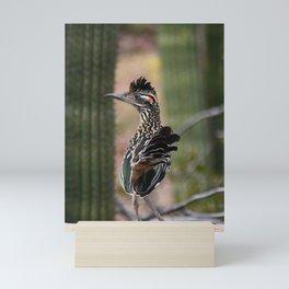Roadrunner Bird Cactus Mini Art Print