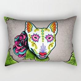 Bull Terrier - Day of the Dead Sugar Skull Dog Rectangular Pillow