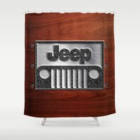 jeep Shower Curtains featuring Embossed Steel Jeep logo with wood background iPhone 4 4s 5 5c 6, pillow case, mugs and tshirt by Three Second
