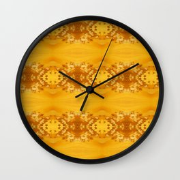 Golden Hibiscus Abstract Pattern Wall Clock