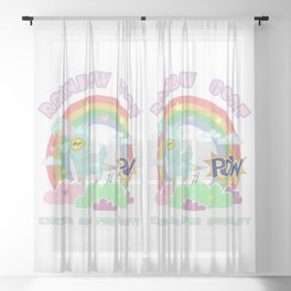 POW! Rainbow Goat Kicking Ass for Equality Sheer Curtain