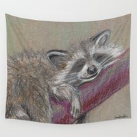 racoon Wall Tapestries featuring Racoon sleeping by Pendientera