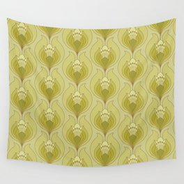 Light Green Floral Art Nouveau Inspired Pattern Wall Tapestry