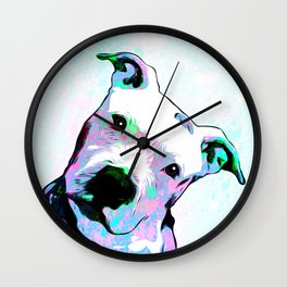 Pit bull - Puzzled - Pop Art Wall Clock
