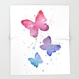 Butterflies Watercolor Abstract Splatters Throw Blanket