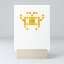 Alien Raider (amber): 8-bit with isolated pixels UFO No. 8-2-2-2 Mini Art Print