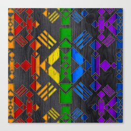 Colorful Geometric Wooden texture pattern Canvas Print