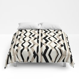 Abstract Cream Brown Black Geometric Pattern Comforters