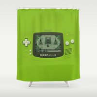 gameboy Shower Curtains featuring Gameboy Zelda Link by Electra