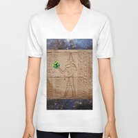 brasil V-neck T-shirts featuring THOTH BRASIL 2014 by Dozzo