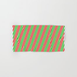 Festive, Christmas-Style Red, White & Green Colored Striped Pattern Hand & Bath Towel