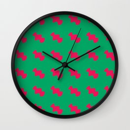 Red pattern green background Wall Clock