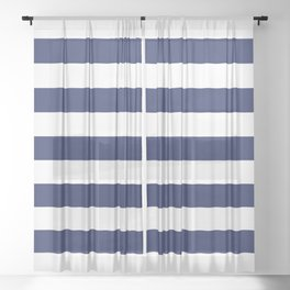 Navy Blue and White Stripes Sheer Curtain