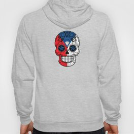 Sugar Skull with Roses and Flag of Czech Republic Hoody