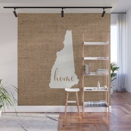 New Hampshire is Home - White on Burlap Wall Mural