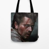 inner demons Tote Bags featuring Inner Demons by Mel Hampson