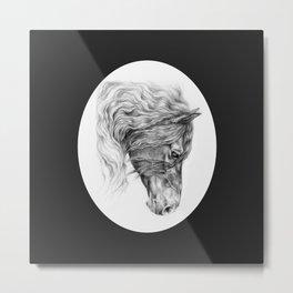 BLACK FRIESIAN HORSE HEAD Metal Print