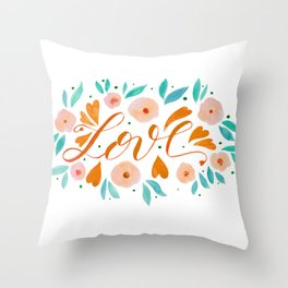 Love and flowers - orange and green Throw Pillow