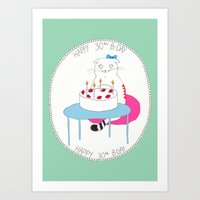 happy birthday Art Prints featuring Happy Birthday! by Olga M.