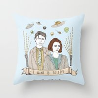 scully Throw Pillows featuring Mulder and Scully 4Ever by Mali Fischer