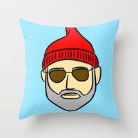 steve zissou Throw Pillows featuring Steve Zissou by CozyReverie