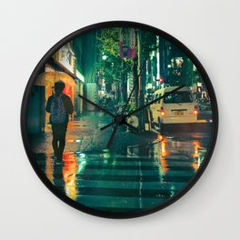 Japanese walking in the rain Wall Clock