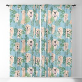 Golden Retriever Tropical  Sheer Curtain
