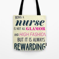 nurse Tote Bags featuring NURSE by I Love Decor