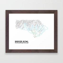 Bridger Bowl, MT - Minimalist Trail Art Framed Art Print
