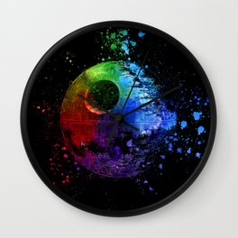 Death Star Abstract Painting - Colorful StarWars Art Wall Clock