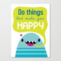 be happy Canvas Prints featuring Happy by Maria Jose Da Luz