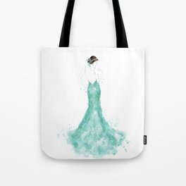 Fashion illustration mermaid dress in mint Tote Bag