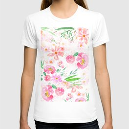 pink flowers and green leaf pattern  T-shirt