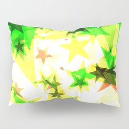 Bright glowing green golden stars on a light background in the projection. Pillow Sham