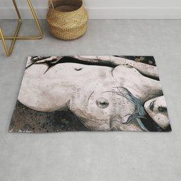 Rotten Apple: Turquoise (nude topless girl, erotic graffiti portrait) Rug