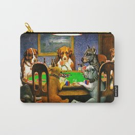 Dogs Playing Poker, by Cassius Marcellus Coolidge - Vintage Painting Carry-All Pouch