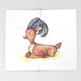 Deer - Enjoying the Summer Sun Throw Blanket