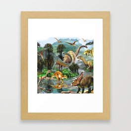 Jurassic dinosaurs drink in the river Framed Art Print