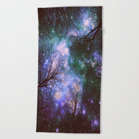 Black Trees Purple Green Space Beach Towel
