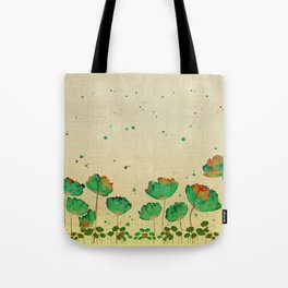 """""""Green flowers & Dots"""" Tote Bag"""