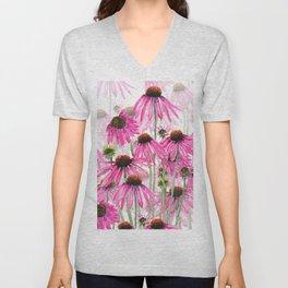 pink coneflower field Unisex V-Neck