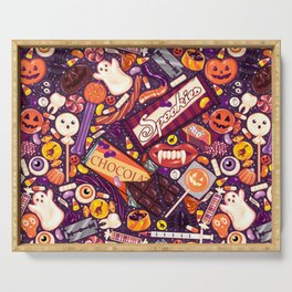 Creepy Halloween Candy on Purple Serving Tray