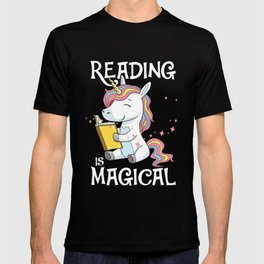 Reading Books Is Magical Unicorn Reader Girl Gift Teacher T-shirt
