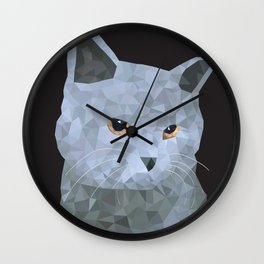 Low poly british cat Wall Clock