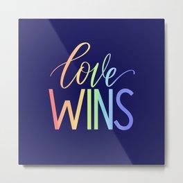 """Love Wins"" Rainbow Gradient Lettering Metal Print"
