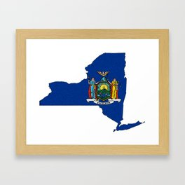 New York Map with State Flag Framed Art Print