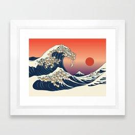 The Great Wave of Corgis Framed Art Print